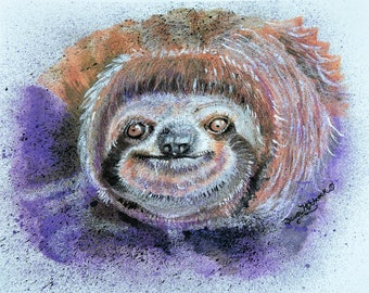 Sloth Watercolor, Sloth Painting, Sloth Print, Whimsical Sloth, Sloth Art, Sloth Animal, Sloth Large Print, Sloth, Sloth home Decor, Purple