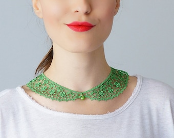 Green Collar Lace Collar Peter Pan Collar Lace Accessory Women Accessory Gift For Her GiftCustom/ MASERIS