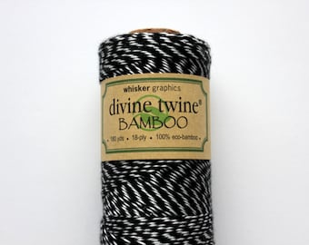 CLOSEOUT - Bamboo Divine Twine - Black Stripe Bakers Twine - Full Spool - 180 yards