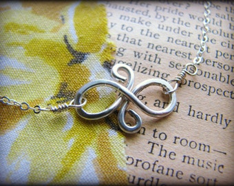 Petite Infinity Symbol Necklace - Dainty Small Eternal Friendship Sterling Silver Gift Girlfriends Bridesmaids best friends Reunion Sisters