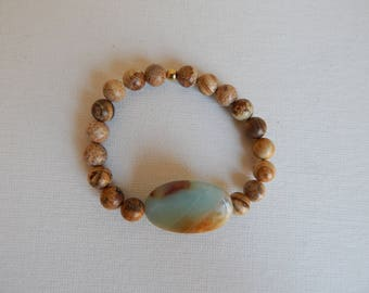 Picture jasper bracelet with amazonite bead, boho style, beach chic, beach boho, stacking bracelet, stretch layering bracelet, light brown