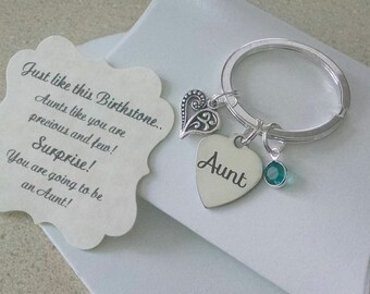 Aunt Gift, Gift For New Aunt, Pregnancy Announce, Baby Announcement, The Best Sisters Get Promoted To Aunt, KEYCHAIN, Charm Size of Nickel