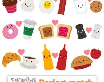 Perfect Match Clip Art Friendship clipart Valentine Clip Art Love Clipart Food clipart Milk Cookie Donut Kawaii clipart Best friends clipart