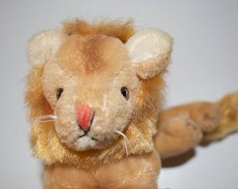"Mohair Lion Stuffed Plush Animal 7"""