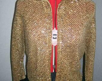 VLV ladies gold sequined cardigan sweater 1950's M