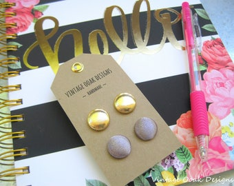 Metallic Studs,Silver & Gold Studs, Silver Button Earrings,Gold Button Earrings, Shimmery Silver Studs, Gold Fabric Studs,Bridesmaid Jewelry