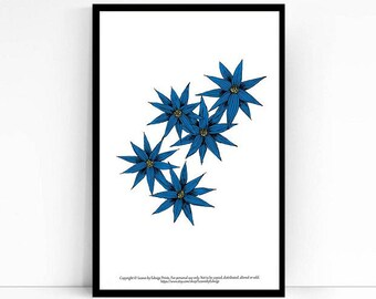 Instant download - print at home - aster blue flowers print - spring hallway art decor - entry way decorations - pdf files - new house gift