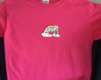 Unicorn t-shirt, bright pink, sz Youth Small