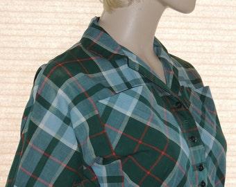 1950s Plaid Shirtwaist Dress Styled by Lenny