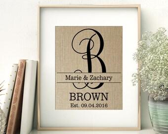 Vine Monogram Personalized Burlap Print | Family Name Sign | Personalized Wedding Monogram Gift | Wedding Shower Gift | Bride and Groom
