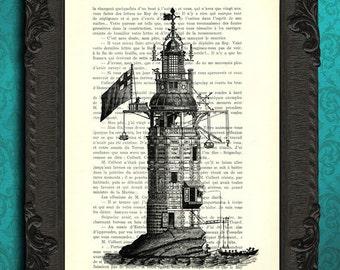 Lighthouse print lighthouse fantasy art black and white antique illustration