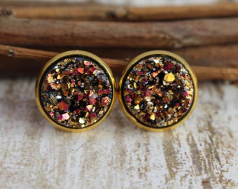 Pink and Gold Druzy Earrings - Gold Stud Earrings - Faux Druzy Earrings - 12mm Stud - Drusy Earrings - Bridesmaid Gift - Bridal Jewelry