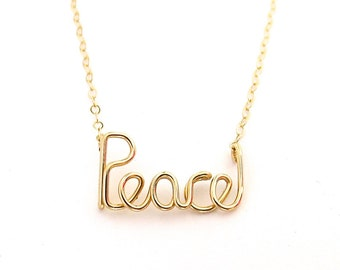 Gold Peace Necklace. 14k Gold Filled Peace Necklace. Yoga Inspired Jewelry. Communion or Baptism Necklace. Girl Gift Under 75.
