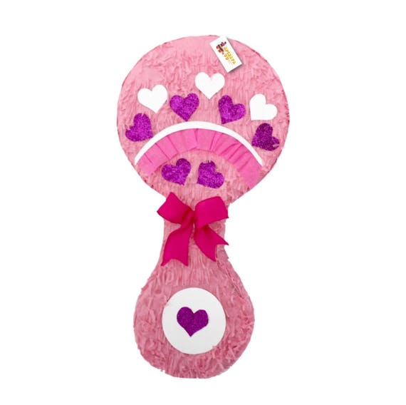 Large Baby Shower Pinata Pink Baby Rattle
