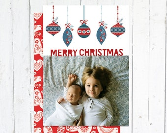 Photo Christmas Cards, Photo Holiday Cards, Merry Christmas, Printable Christmas Cards, Ornaments, Matching Back, Full Photo