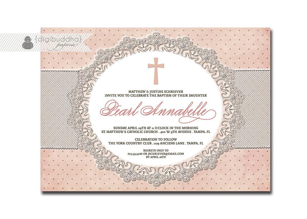Lace baptism invitation pink dots shabby chic vintage zoom stopboris Images