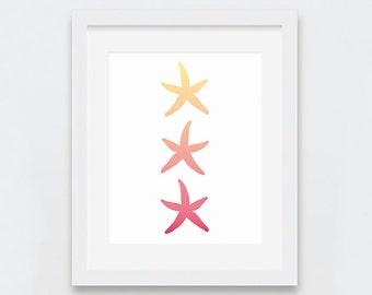 Starfish Prints, Starfish Wall Art, Tropical Decor, Beachy Art Print, Yellow Peach Coral Art, Beach Theme Nursery, Summer Digital Print