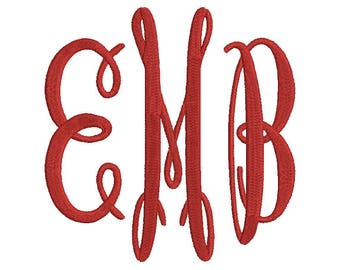 Oval Monogram Embroidery Font 3 Size Font Machine Embroidery Font Instant Download 9 Formats Embroidery Pattern PES and BX