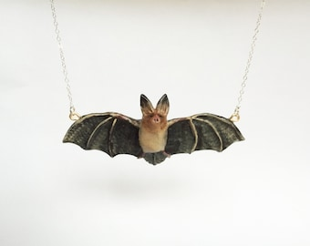 Big-Eared Bat Necklace - Halloween Jewelry - Halloween Costume Necklace - Made to Order - Handmade Bat Necklace