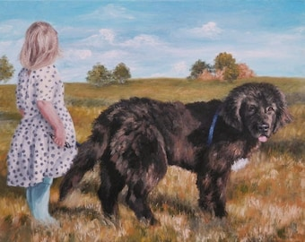 "PET PORTRAIT - Custom Painting in Acrylics on Canvas or Pastel-Original Dog Art 16""x20"""