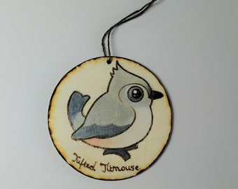 Tufted Titmouse Wood Burned Ornament