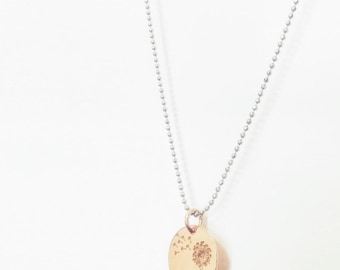 925 silver necklace with silver pendant dandelion
