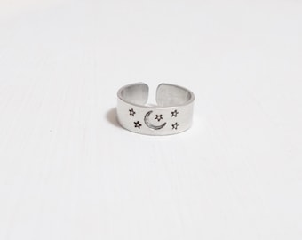 Hand Stamped Under The Moon and Stars Aluminum Ring Adjustable Cuff Band Ring