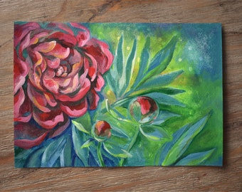 Peonies on Polka Dots Original Painting