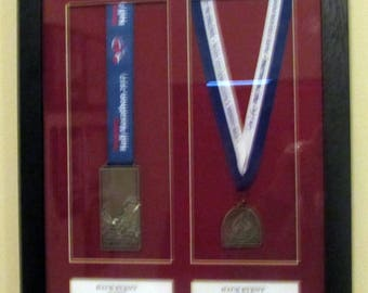 Double personalised marathon running/triathlon medal display frame (ANY MEDAL)