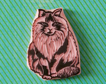 Cat rubber stamp - cat lover stamp - hand carved stamp - cat lover gift - pet stamp - kitty stamp