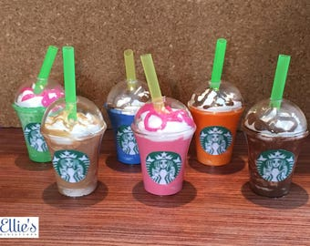 """Handmade Doll Fake Mini Coffee, Frappuccino, Smoothie   American Girl 18"""" Doll Sized"""