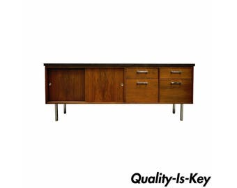 Vintage Mid Century Modern Walnut & Chrome Credenza Cabinet Florence Knoll Style