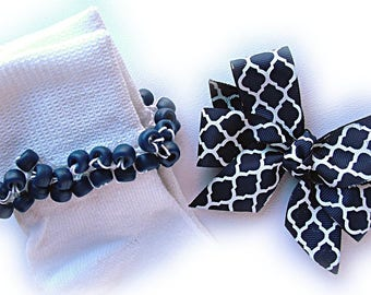 Kathy's Beaded Socks - Navy and White Quatrefoil Socks and Hairbow, girls socks, pony bead socks, school socks, navy socks, anchor socks