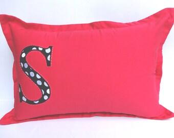 Polka dot monogram pillow on hot pink, bed pillow, monogram pillow, nursery decor personalized  pillow. custom made 18 ×29