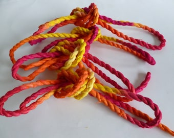 Handmade paper rope multicolour 4 lengths mixed media  journalling