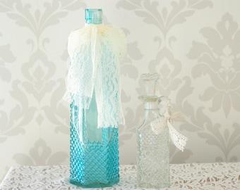 Vintage, Antique glass vases, Teal, and Clear Vintage Decanter