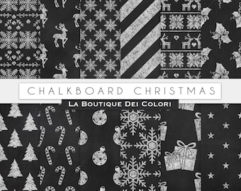 Chalkboard Christmas digital paper, chalk background, christmas tree, stars, chalk, snowflakes background for Commercial Use