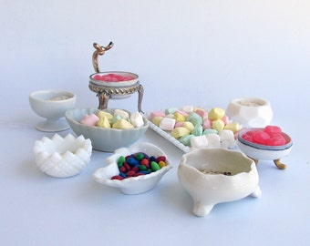 "A Lot of  9 Vintage & Antique Glass Salt Cellars - Small Milk Glass Bowls ""An Instant Collection"""