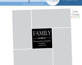 12 x 12 Storyboard with Family Quote - Photographer Photoshop Template