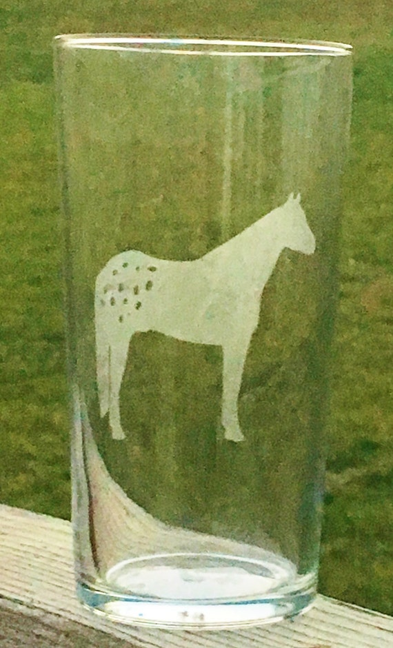 Appaloosa, Horse, Etched Drinking Glass, Appy Horse, Etched, Glass, Horse Gift, Wedding Gift