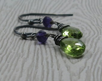 Peridot, Amethyst Earrings Oxidized Sterling Silver August February Birthstone Earrings
