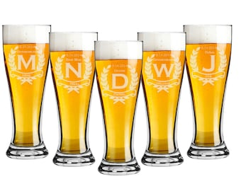 Groomsmen Gift, 7 Personalized Pilsner 16 oz  Beer Glasses, Personalized Custom Engraved, Wedding Favor, Party Gift - Bridsesmaid