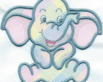 Playful Elephant Iron-on Applique Patch 5 x 5 inches ready now