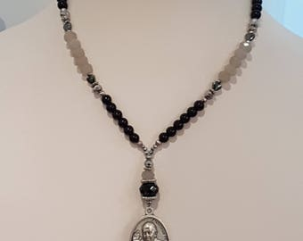 Necklace-Short Crystals medal image of Pope Francis. Religious necklace. Classic jewellery. Necklace Pope Francis