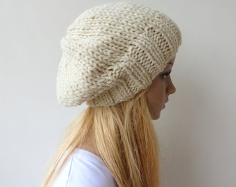 Cream Knit Hat Winter white Slouchy Hat Womens Chunky Knit slouch beanie Mens knit hat