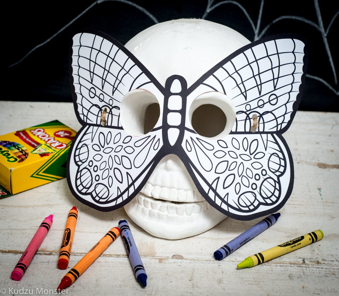 Halloween Printable butterfly coloring mask for kids butterfly