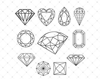 Diamond SVG Cut Files for Cricut, Silhouette and other Vinyl Cutting Machines, svg files