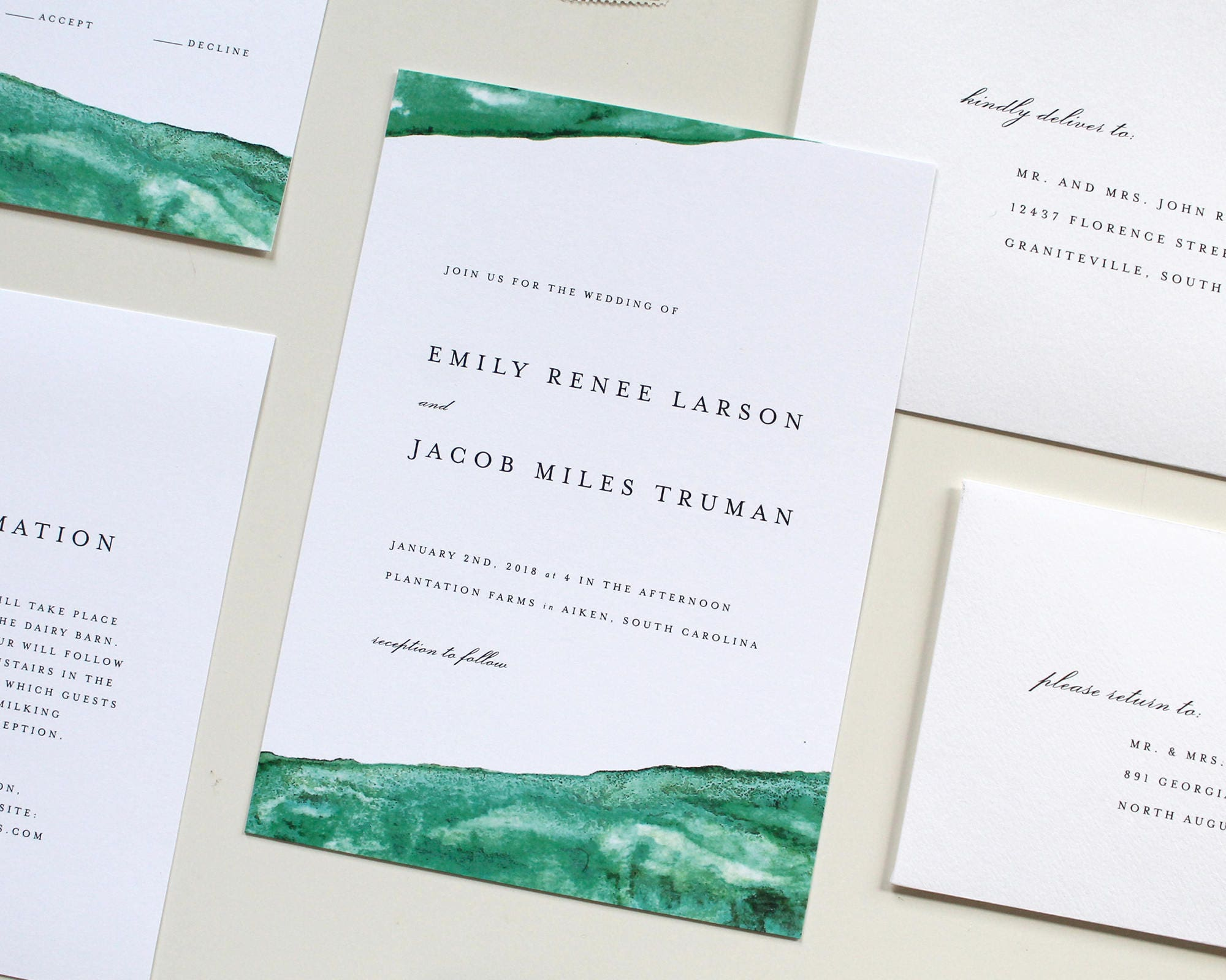 Emerald Wedding Invitation Green Wedding Invites Modern
