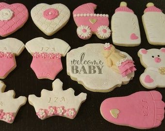 Baby shower cookies ,Pink and white baby cookies,....one dozen