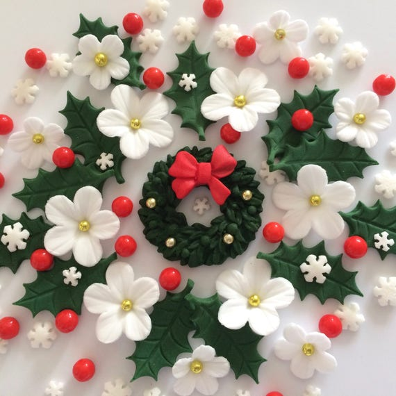 Christmas Cake Decorations Flowers: CHRISTMAS WREATH BOUQUET Edible Sugar Paste Flowers Cake